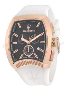 MASERATI Calandra Rose Gold Chronograph White Rubber Strap R8871605001