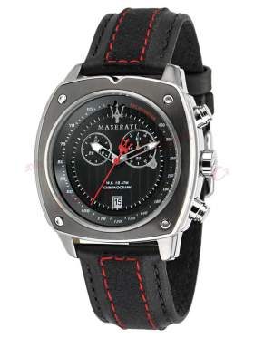MASERATI Chronograph Black Leather Strap R8871606001