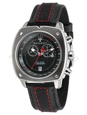 MASERATI Chronograph Black Leather Strap R8871606001