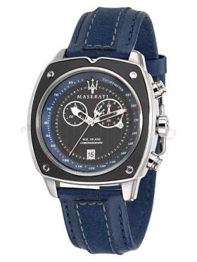 MASERATI Chronograph Blue Leather Strap R8871606002