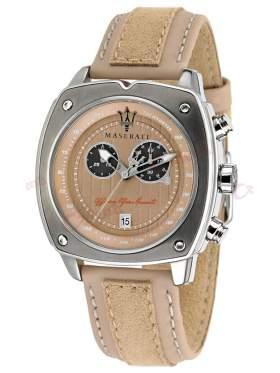 MASERATI Chronograph Beige Leather Strap R8871606003