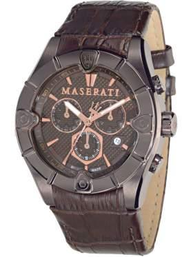 MASERATI Meccanica Chronograph Brown Leather Strap   R8871611001