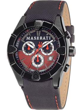 MASERATI Meccanica Chronograph Black Leather Strap   R8871611002