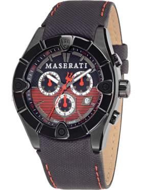 MASERATI Meccanica Chronograph Black Leather Strap   R8871611002