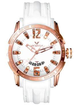 VICEROY Rose Gold Date White Rubber Strap 42117-05
