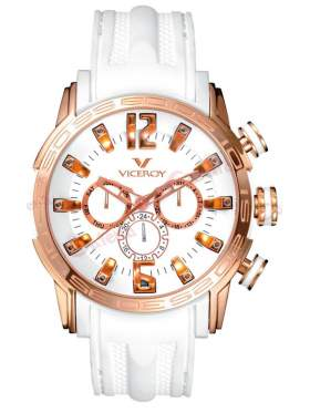 VICEROY Rose Gold Multifunction White Rubber Strap 42119-05