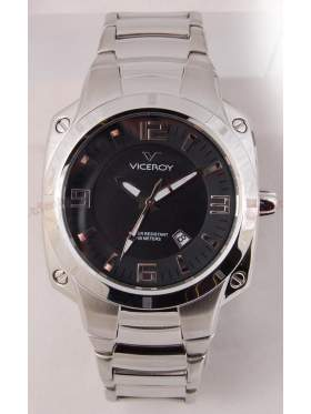 VICEROY Black Dial Stainless Steel Bracelet 432035-55