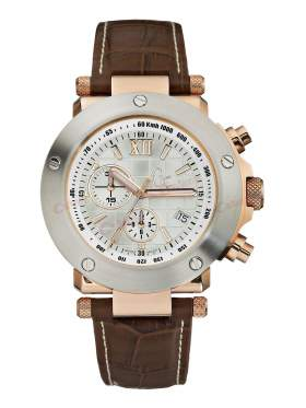 GUESS Collection Gents Brown Leather Strap Chronograph  A47007G1