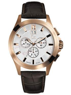 GUESS Collection Gents Brown Leather Strap Chronograph I42003G1