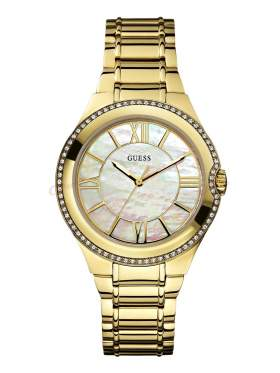 GUESS Moonbeam Crystal Gold Stainless Steel Bracelet W0112L1
