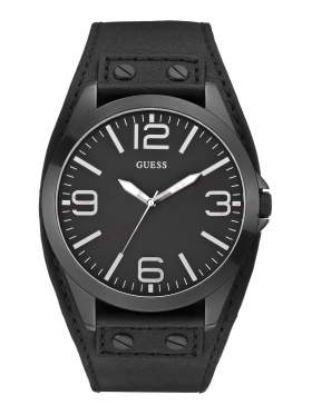 GUESS Black Leather Strap Black Dial W0181G2