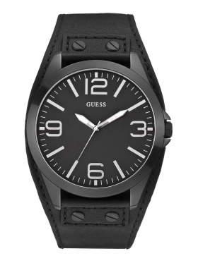 GUESS Black Leather Strap Black Dial W0181G2