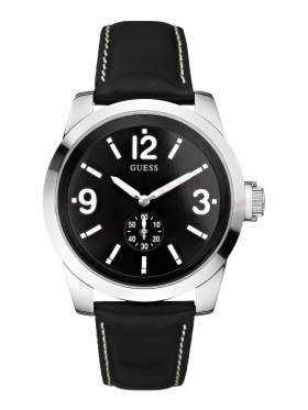 GUESS Small Second Black Leather Strap W10248G1