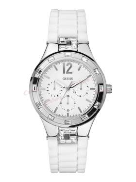 GUESS Crystals Multifunction White Rubber Strap W10615L1
