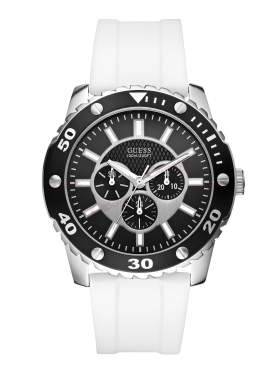 GUESS Multi Function White Rubber Strap W10616G2
