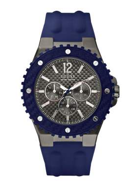 GUESS Overdrive Blue Rubber Strap W11619G2