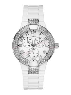 GUESS Crystal Ladies White Polycarbonate Bracelet W13564L1