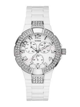 GUESS Crystal Ladies White Polycarbonate Bracelet W13564L1