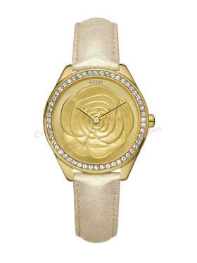 GUESS Mini Crystal Rose Champagne Leather Strap W85076L1