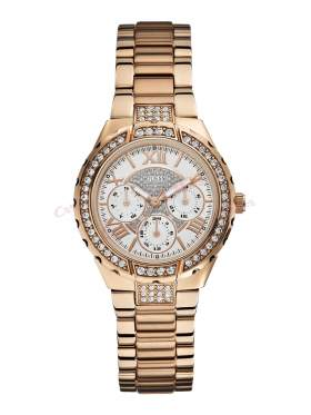 GUESS Crystals Multifunction Rοse Gold Stainless Steel Bracelet W0111L3