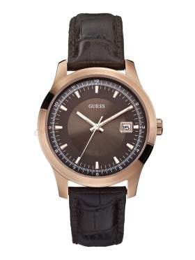 GUESS Rose Gold Brown Leather Strap W0250G2