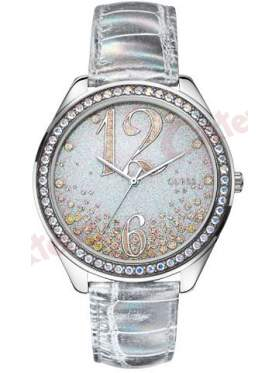 GUESS Silver Leather Strap Crystal Ladies   W0337L1