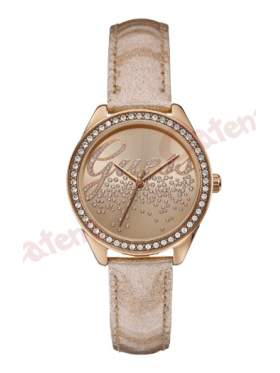 GUESS Ladies Rose Gold Leather Strap W0161L1