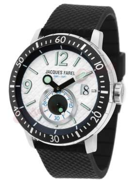 JACQUES FAREL White Dial Black Rubber Strap