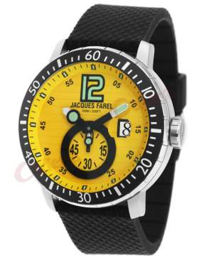 JACQUES FAREL Yellow Dial Black Rubber Strap