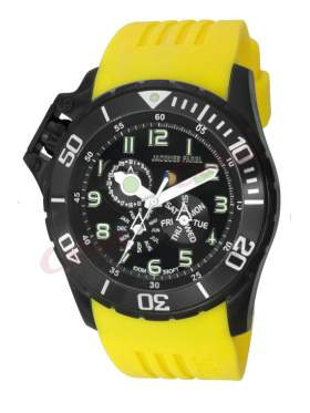 JACQUES FAREL Multifunction Yellow Rubber Strap