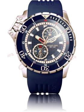 JACQUES FAREL Men's Rose Gold Blue Rubber Strap AMC9099