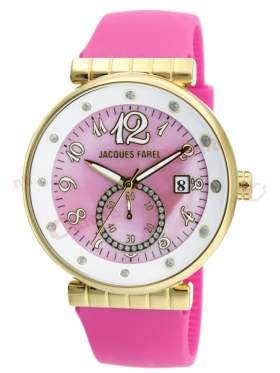 JACQUES FAREL Gold Crystals Pink Rubber Strap