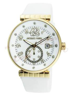 JACQUES FAREL Gold Crystals White Rubber Strap