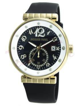 JACQUES FAREL Gold Crystals Black Rubber Strap