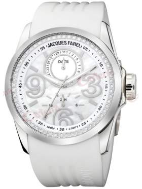JACQUES FAREL Crystals White Rubber Strap