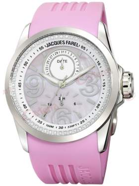 JACQUES FAREL Multifunction Crystals Pink Rubber Strap