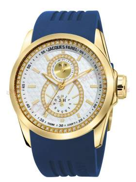 JACQUES FAREL Multifunction Crystals Blue Rubber Strap