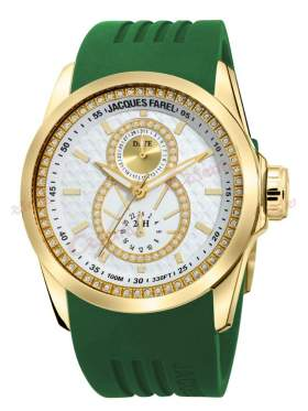 JACQUES FAREL Multifunction Crystals Green Rubber Strap