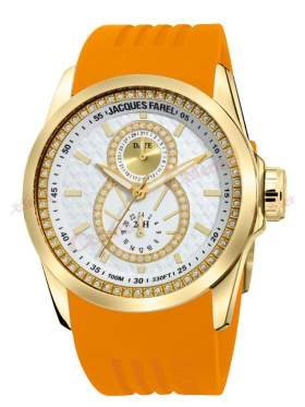 JACQUES FAREL Multifunction Crystals Orange Rubber Strap