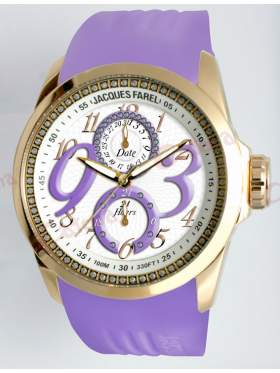 JACQUES FAREL Multifunction Crystals Purple Rubber Strap