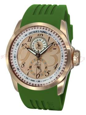 JACQUES FAREL Rose Gold Green Rubber Strap
