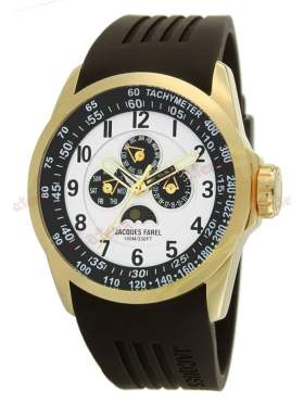 JACQUES FAREL Multifunction Gold Brown Rubber Strap