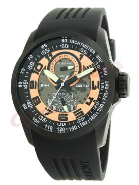 JACQUES FAREL Multifunction Black Rubber Strap