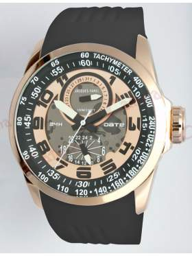 JACQUES FAREL Multifunction Rose Gold Black Rubber Strap