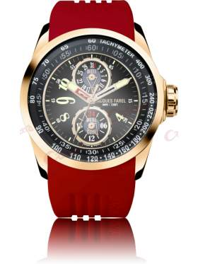 JACQUES FAREL Men's Rose Gold Red Rubber Strap ATR2333