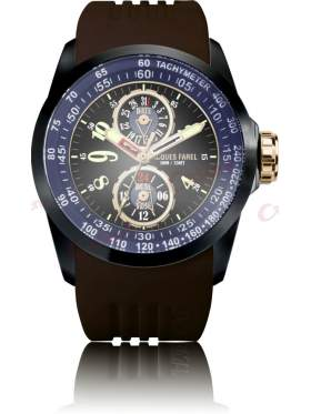 JACQUES FAREL Men's Brown Rubber Strap ATR2338