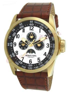 JACQUES FAREL Multifunction Gold Brown Leather Strap