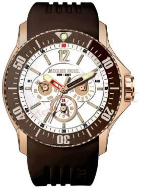 JACQUES FAREL Men's Rose Gold Brown Rubber Strap ATX2255
