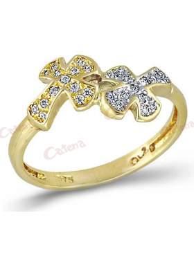 Δακτυλίδι χρυσό με ζιργκόν άσπρες πέτρες σχέδιο διπλό σταυρό