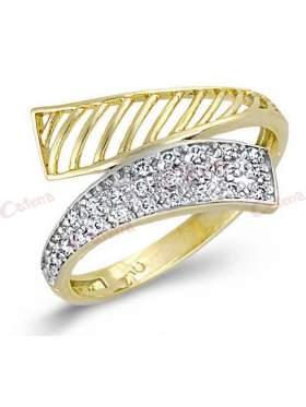 Δακτυλίδι χρυσό με ζιργκόν άσπρες πέτρες ελεύθερο σχέδιο
